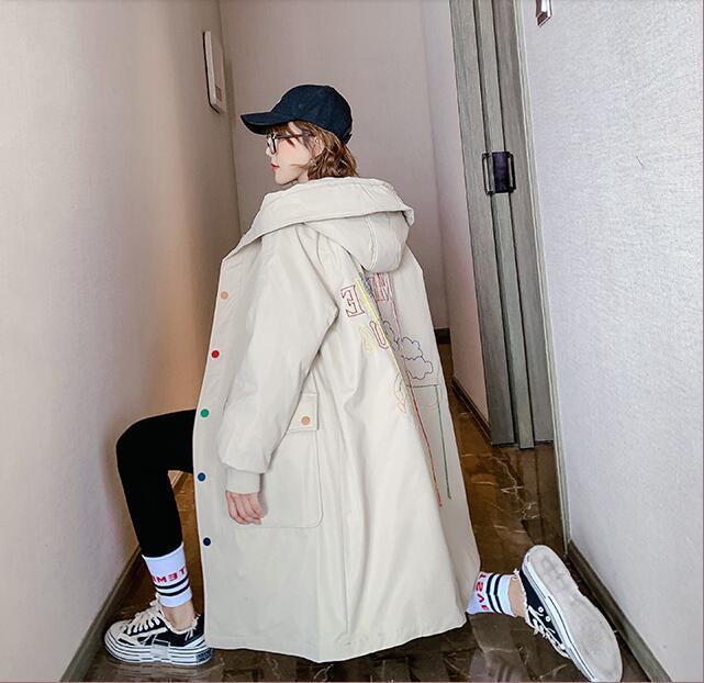 Hot Damen Winter gepolsterte Jacke, lange gepolsterte Jacke, koreanischer Stil lose Studentenschule Überbewegungen versandkostenfrei