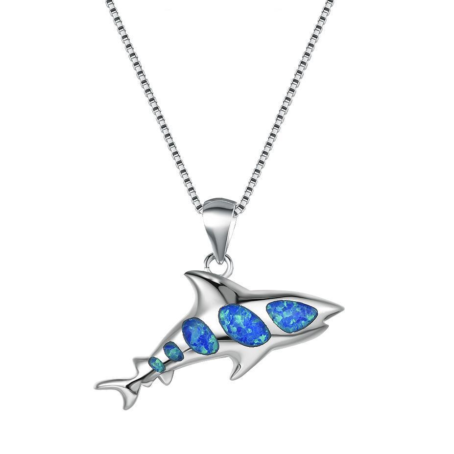 الذهب مملوءة القرش الأبيض قلادة الأزرق الأبيض العقيق النار القلائد للنساء لطيف السمك قلادة أنثى مجوهرات الزفاف
