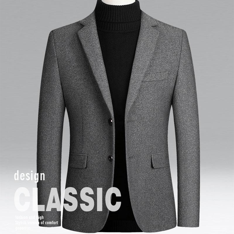 Large Size Thick Wool Blended Woolen Coat Men'S 2020 Autumn Winter Warm High-Quality Solid Suit Jacket Business Casual 4XL