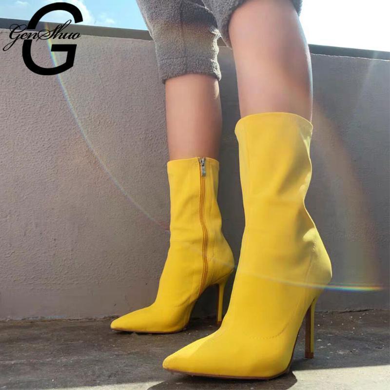 GENSHUO Sexy Socken Stiefel Elastic Stretch Stiefel High Heel für Frauen Mode Schuhe 2020 Frühling und Herbst Mittlere Waden Booties Weiblich