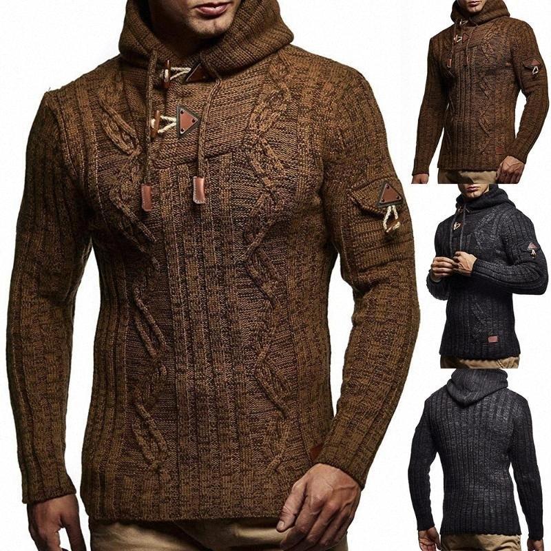 Punto de los hombres de invierno nuevo otoño 2020 Cuerda Moda Hombres de la UE con capucha delgada ocasional del suéter del Knit 98Rc #