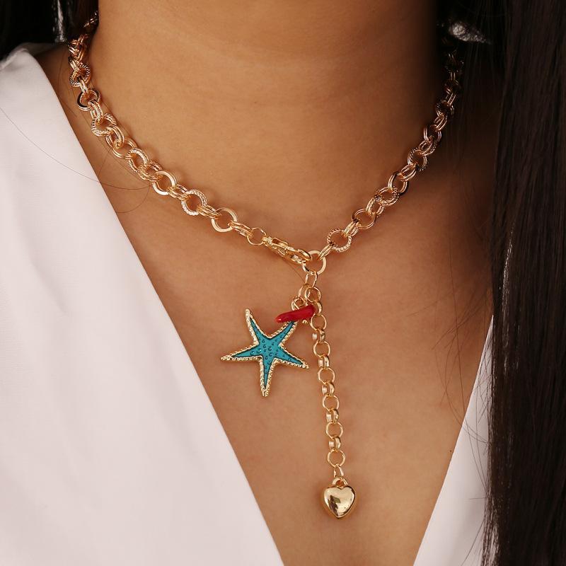 Luokey Verão Bohemian Starfish Mulheres Colar Cadeia De Clavícula Gargantilha Colar Pingente Sea Turtle Jóias Amizade Bijoux Femme
