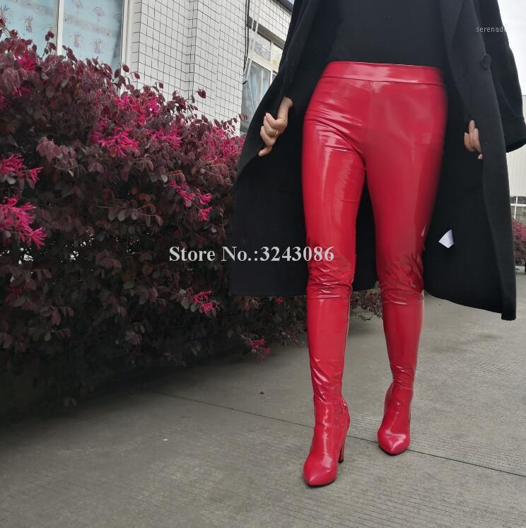 Mode Frau Taille Hose Chunky Ferse Lange Stiefel Sexy Rot Gelb Gelb Lila Lackleder über dem Knieschenkel Hohe Boots Lady1
