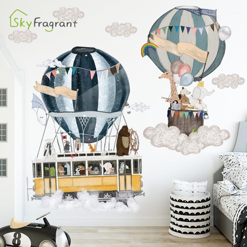 الكرتون ins الساخن بالون الهواء يسافر ملصقات الحائط ذاتية اللصق غرفة نوم جدار ديكور غرفة الاطفال غرفة ملصق الطفل غرفة الديكور 1