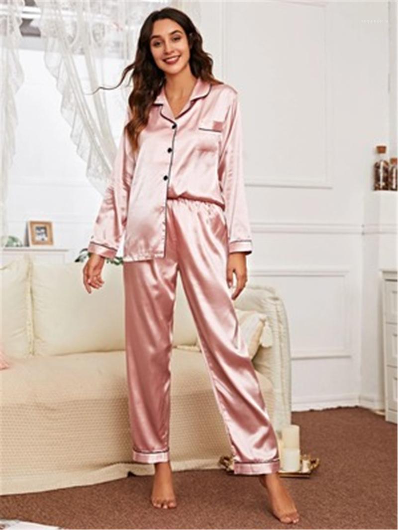 Sleepwear Trend moda moda grande dimensione manica lunga cardigan Top pants 2pcs set pigiama femminile primavera primavera moda casual vestiti da donna solido