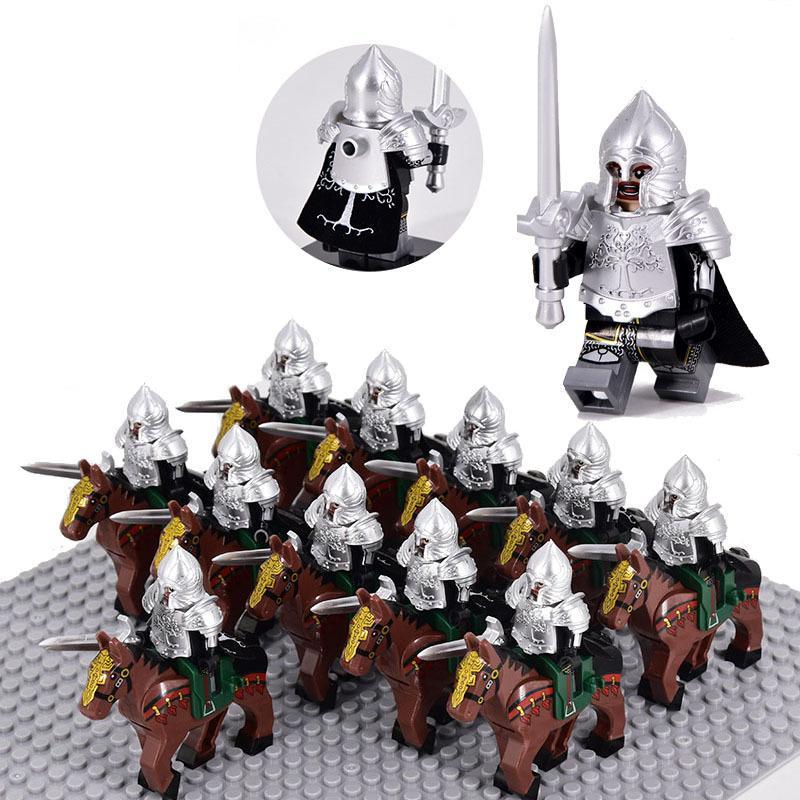Classic War Horse Crusader Rome Commander Spartan Medieval Knights Group Figures building blocks bricks Castle toys For Boys C1115