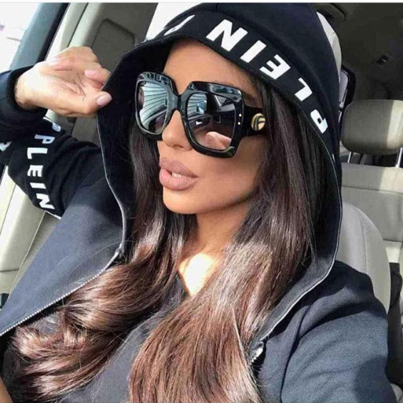 Glasses Oversized 2020 Women Glasses Square UV400 Sun Retro Black Big Shades Female Vintage Oculos Sunglasses Gjdvn