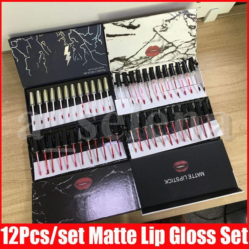 4 Styles Lip Makeup Set Marble Flash Edition Liquid Lipstick Lip Gloss Collection 12 Colors Matte Lip Gloss Lipgloss Kit