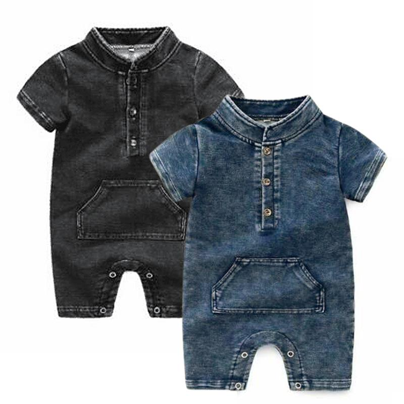 IN Baby-Denim-Spielanzug-Kind-Kind kurzer Hülsen-Cowboy-Overall-Baby-Jeans Bodysuits Neugeborene Kleidung Klettern A4521