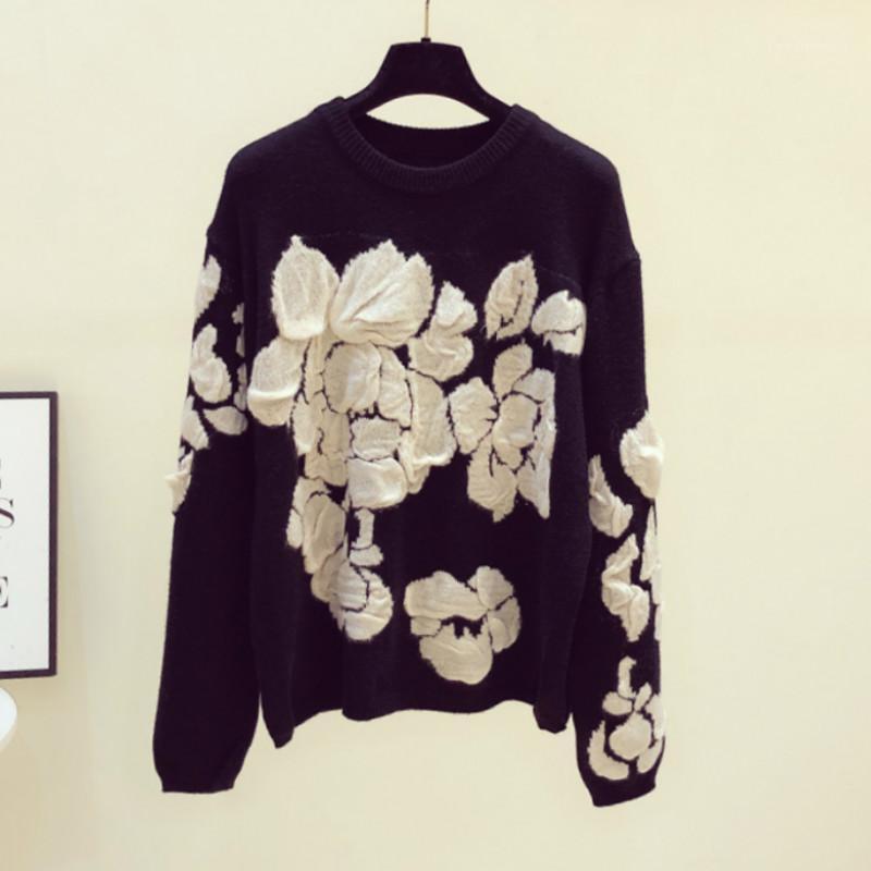 Женские свитеры старинные осенние женщины цветок корейский мода белые черные зимние вязаные пуловеры топ