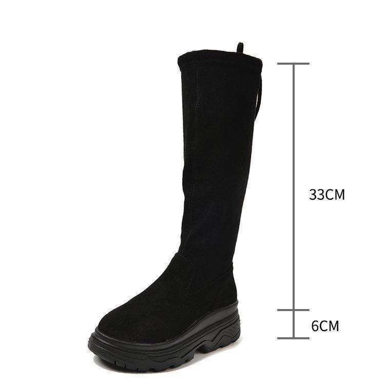 Botas 2021 Moda Mujeres Primavera Invierno Slim Knee-High Calidad Suede Long Long Comfort Square Botines Mujer Muslo