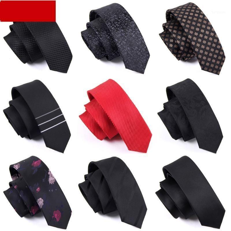 Alta calidad 2020 nuevos diseñadores Marcas Moda Business Casual 5 cm 6 cm Lazos delgados para hombres Necktie Office Work with Gift Box1