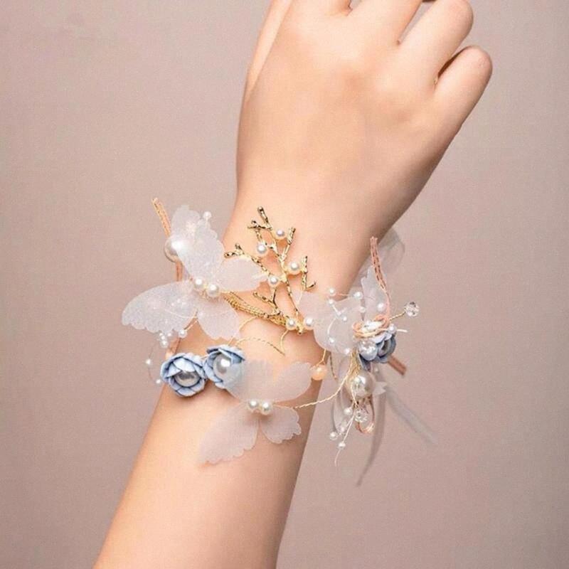Artificial dama de honor nupcial de la mariposa de la muñeca la pulsera de estiramiento de la flor del ramillete de la muñeca del ramillete de novia de la boda de la flor de la decoración wc9E #