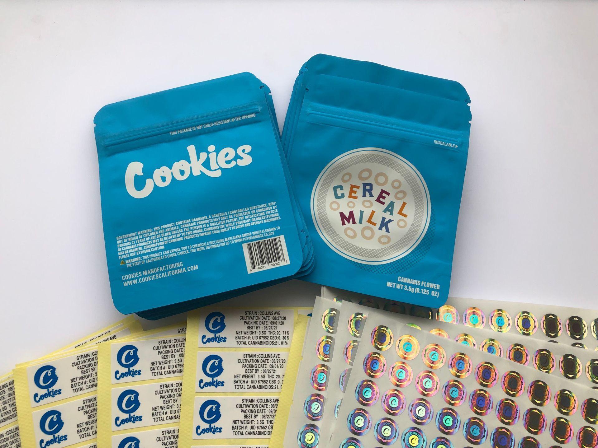 Blaue Kekse und Label Hologramm Mylar 3.5g Aufkleber Bdebaby Aromen Verpackung Edibles Cerel Cerel Kalifornien Milchbeutel Bbyqi Taschen Jkidk