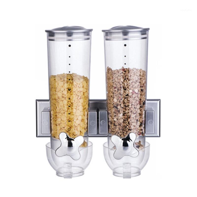 Бутылки для хранения JARS Кухонные настенные контейнеры двойной баррель зерновой контейнер Oatmeal Dispenser самообслуживающий сухой контейнер1