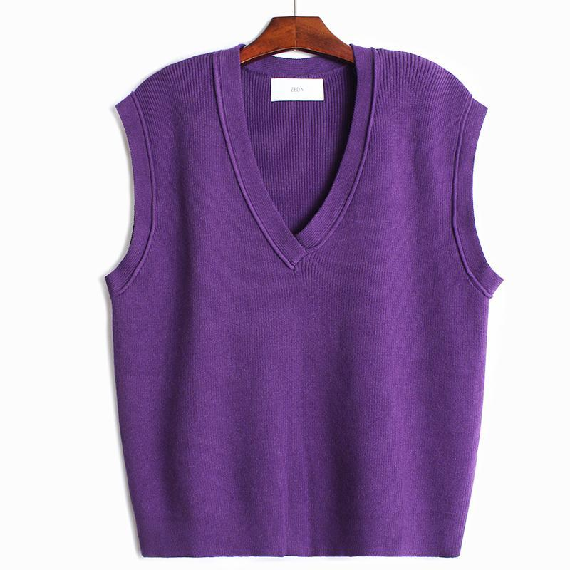 Loose and Lazy Curling V-neck Waistcoat for Women 2020 Korean Autumn / Winter New Solid Color Knitwear Sweater Vest Coat