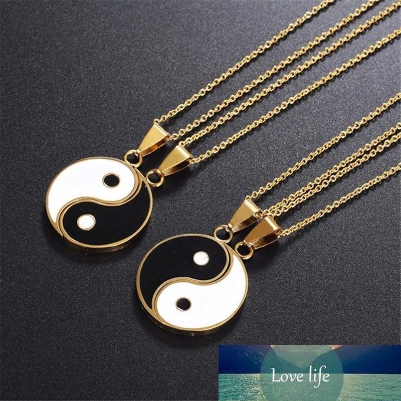 Высококачественные металлические YIN YANG кулон головоломки ожерелье день рождения украшенные подарки для пара или лучших друзей