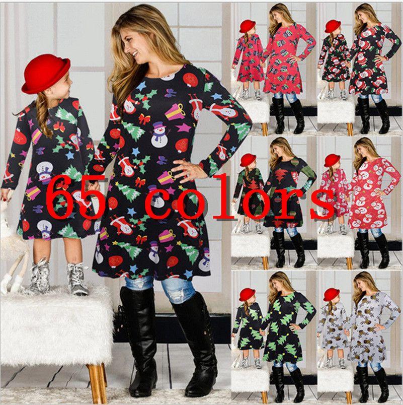 Natale in famiglia Abbigliamento carte dello stesso seme della figlia della madre che uguagliano vestiti da Babbo Natale Gonna Stampa genitori-bambini Abito Outfits E101901