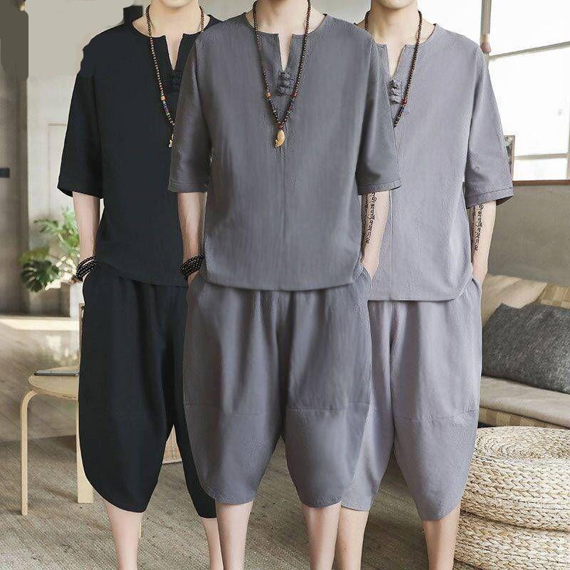 YASUGUOJI New Summer Casual Half-sleeve V-neck Pullover with Knee Length Pants 2 Piece Loose Men Shorts Set Male Romper