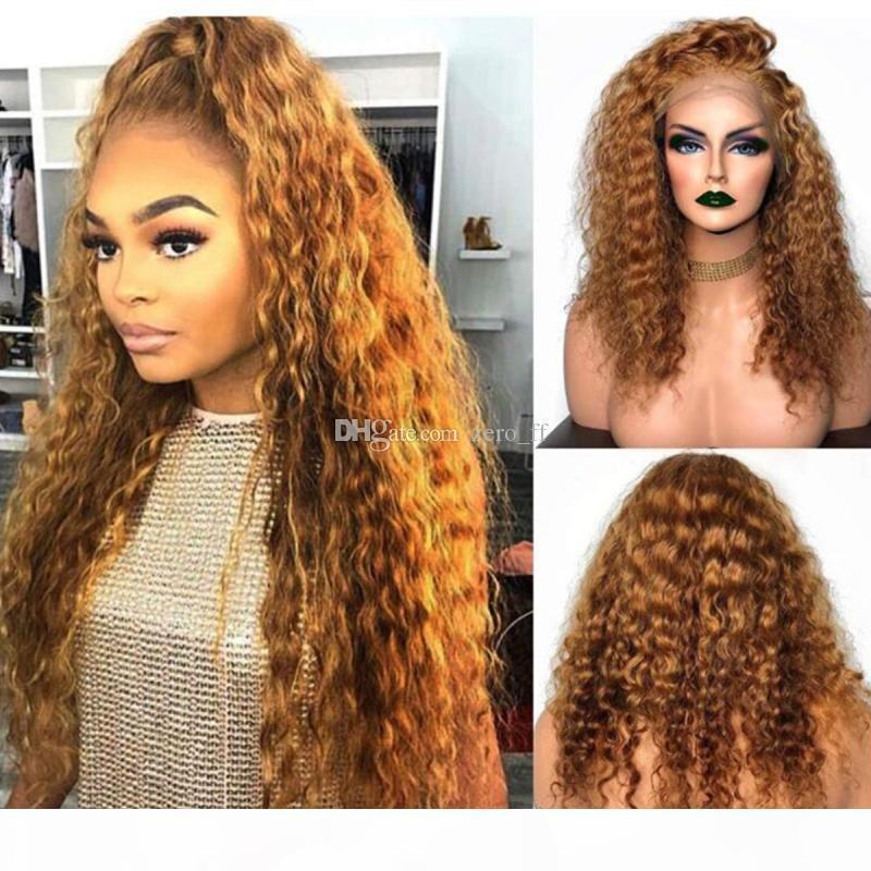 Biondo parte anteriore del pizzo dei capelli umani parrucche per donne di colore Colorful 180% densità profonda onda parrucca Pre parrucche 27 # brasiliana piena del merletto