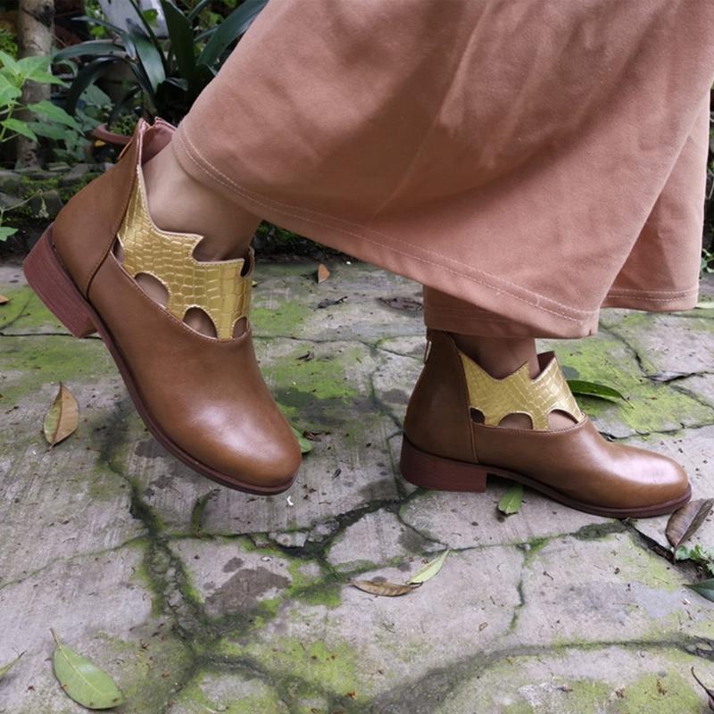 Moda Mulheres Bohemian Botas Curtas Quadrado Saltos Zíper Serpentina Imprimir Bota Curta Rodada Do Toe Outono Inverno Brown Sapatos