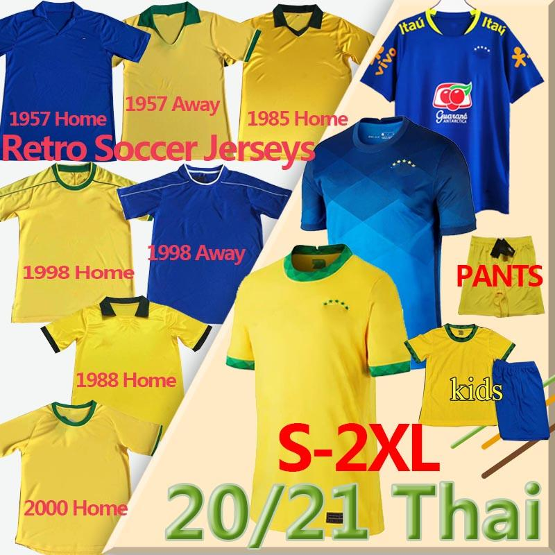 Copa America 2020 Brazil soccer jerseys Retro Classic 1957 85 88 98 2000 Fußball-Hemd Firmino Neymar Brasil JR Männer Kinder Kit Uniform Trikots für Fußball