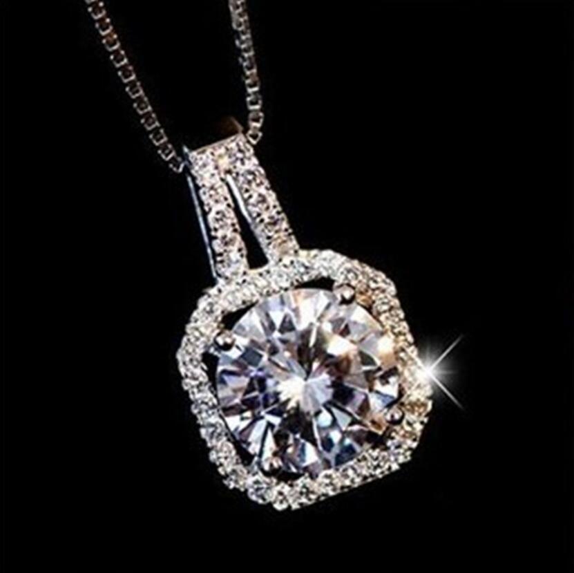 925 Carré Design Cristal cubique Choker de Zircon Pendentif Colliers fille Bijoux cadeau court 2020 Nouveau femmes pour les femmes de mariée mariage