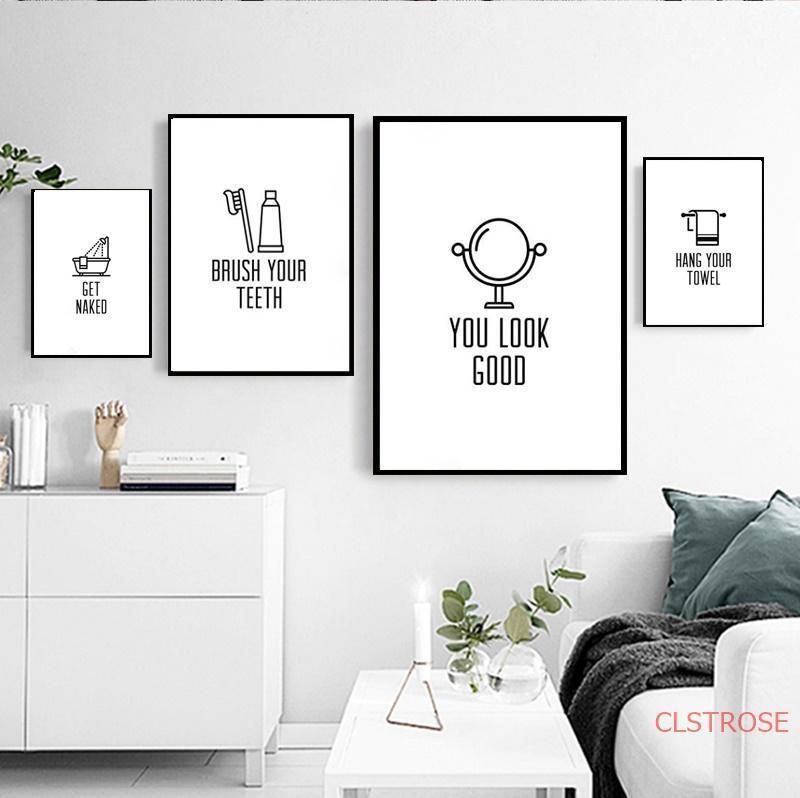 Минималистичные украшения туалета Холст Живопись Современные Nordic Home Art Pogers и Prints Ванная комната Модульные стены Фотографии без кадра1