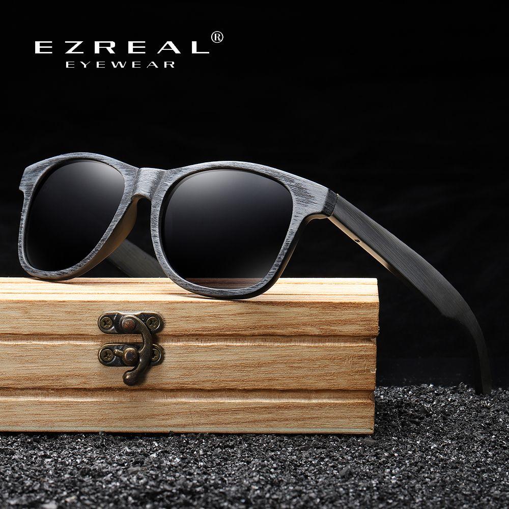 Ezreal Handmade Bamboo et Wood Lunettes de soleil Polarisée Lunettes de soleil pour hommes Simple Global Simple avec des lunettes de soleil en bois Q0121