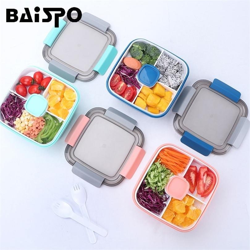 Baispo Aquecida Lancheira para Crianças Bento Estilo Japonês com Compartimento De Talheres Design Cozinha Recipiente De Alimentos Microwavable 201210