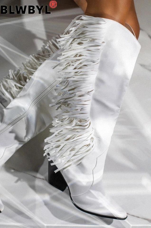 Nuovi stivali da donna Scarpe vintage Donne nappa sopra il ginocchio Casual Boots Fashion Round Toe in pelle Square Square Botas Mujer # ET30