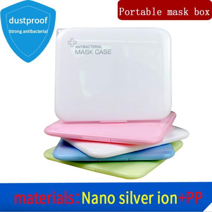 Mask Armazenamento Caixas N95 Container caixa de máscara caixa de rosto plástico portátil 4 cores Atacado OWA1042