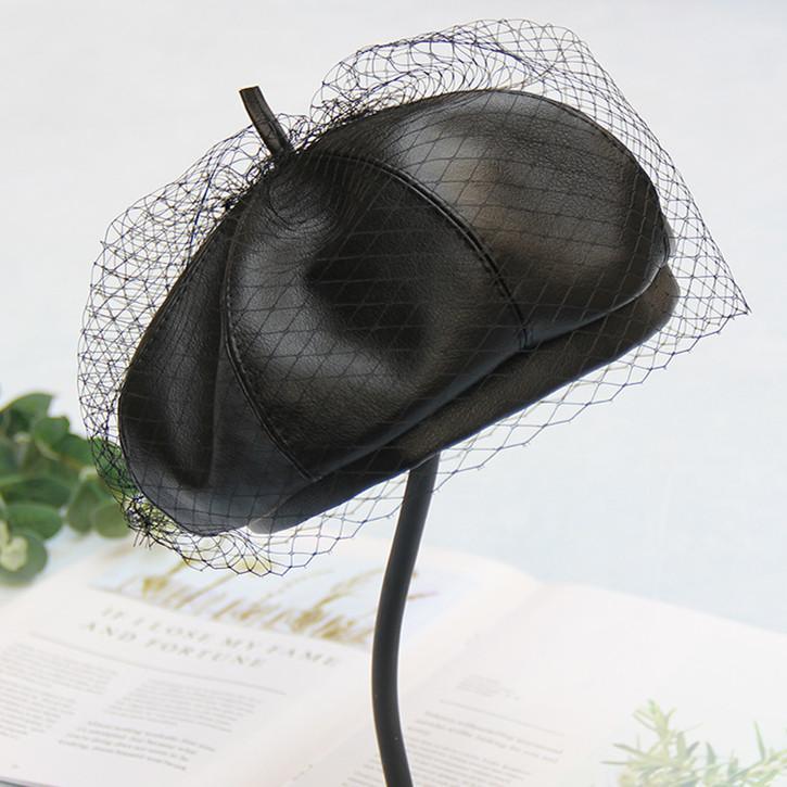 FUFAN023 Winter Solid Black Faux Leather Women's Beret Cap Pumpkin Hat Artist Hat Newsboy With Gauze