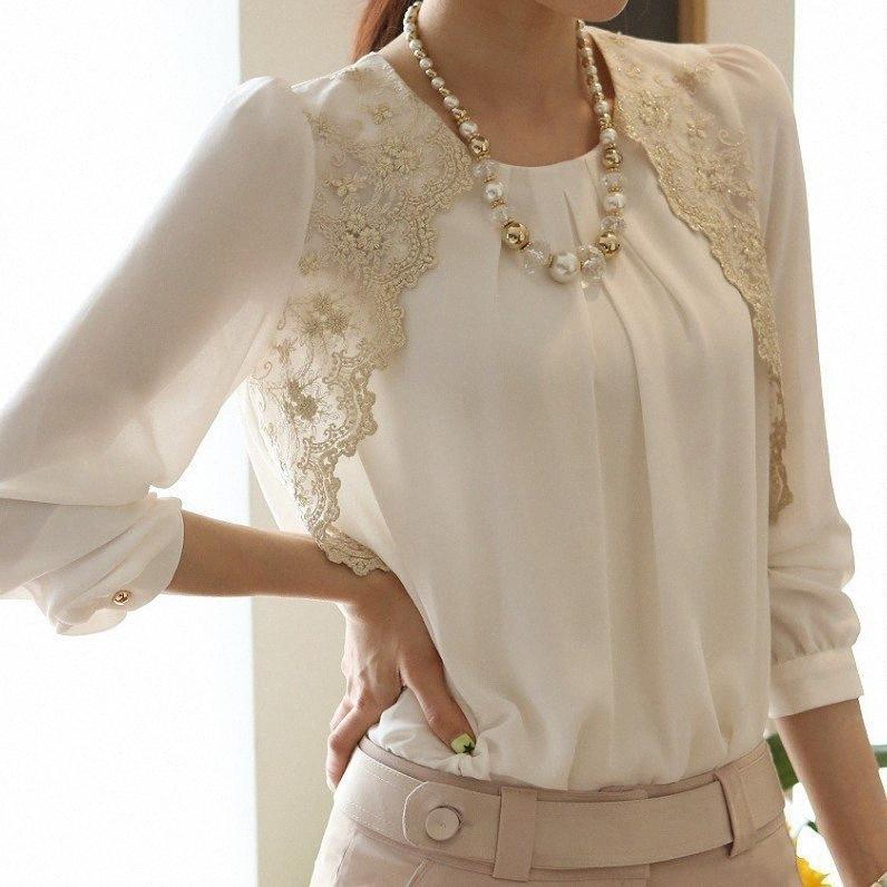 Loose Women Chiffon Blusa Feminina Lace Bordados Patchwork O pescoço shirt longo fêmea da Escritório Tops Plus Size 5XL Y200402 Q3ks #