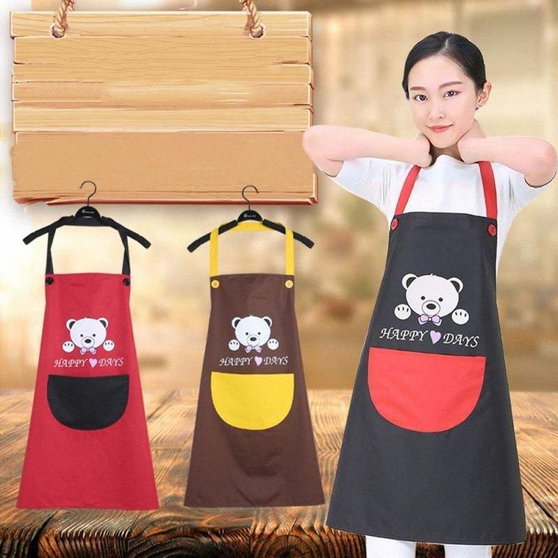 2018 Adult Реклама Фартук Фартук Качество ткани Lady Масло Proof Медведь против обрастания рукавов кухонный инвентарь 36xu #