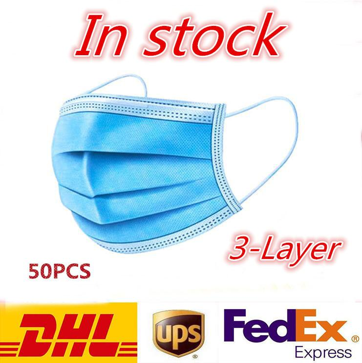 new Disposable Mask 50 3-Layer Face Mask Protection and Personal Health Mask with Earloop Mouth Face Sanitary Masks Free Shipping