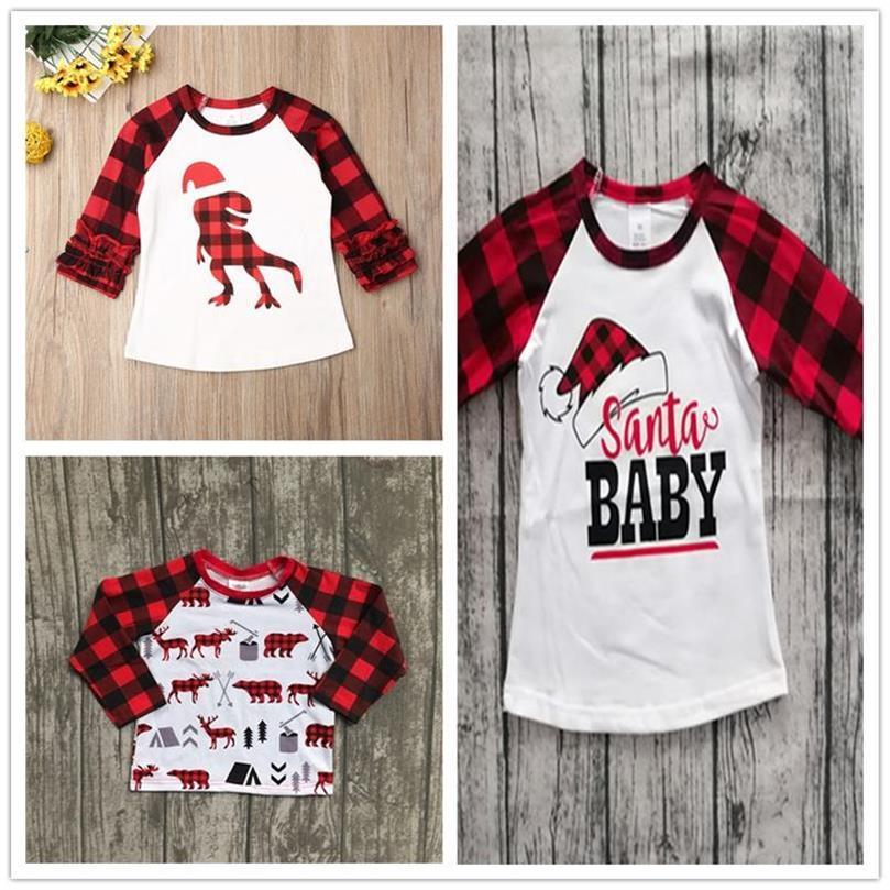 Children Christmas Clothing Kids T-shirt Pullovers Tops Ins Baby Girls Plaid Long Sleeve T Shirts Xmas Red Grid Dinosaur Tshirt E102906