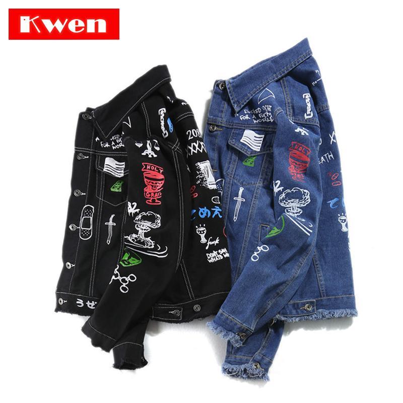 2019 Hommes Coton Casual Streetwear Automne New Denim manteau de veste pour les hommes Hip Hop Mode Printed Jeans Veste grande taille 5XL C1108