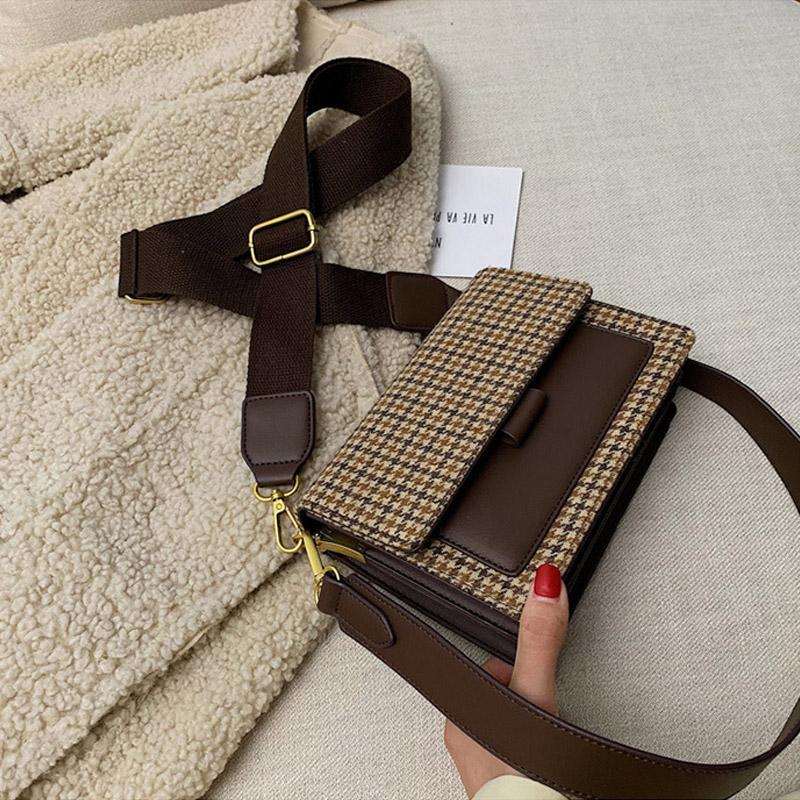 Mujer lienzo tweed bolsa bolso a cuadros bolso hombro nuevo estilo 2021 cinturón con paneles estilo francés solapa cruz cuerpo masssenger sac a principal pdnbx