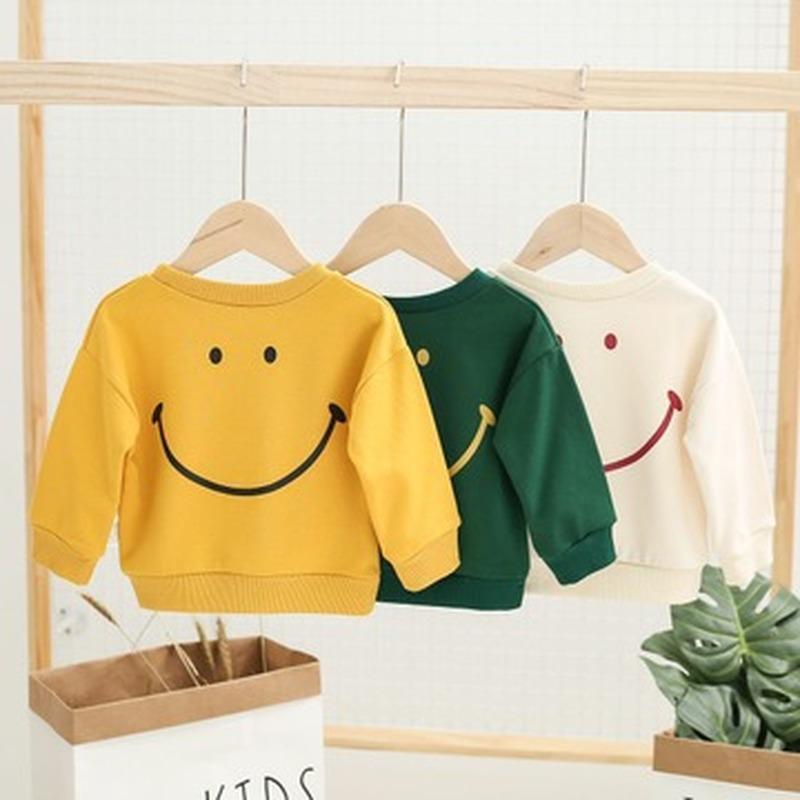 Boys Casual Smiley Imprimer Fille Toddler Sweat-shirt Coton Printemps Automne Manches longues Chemises Enfants Vêtements bébé Tops 2020