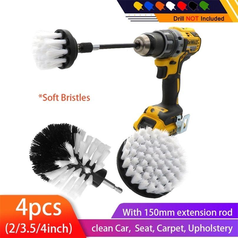 4 pçs / set Drill Power Scrub Clean Brocas Elétricas Broca Kit com extensão para limpeza de carro, assento, tapete, estofamento 201214