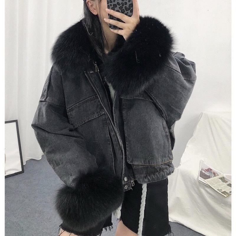 Damen Down Parkas Halten Sie warme Baumwoll-Liner Winterkleidung für Frauen Denim Jacke Mäntel 2021 Parka-Kleidung Streetwear