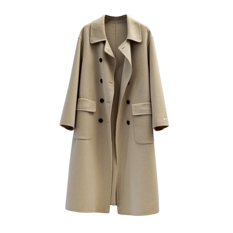 UK molla donne di nuovo disegno semplice cappotto di lana singolo petto con cintura Giallo Marrone Nero 201009
