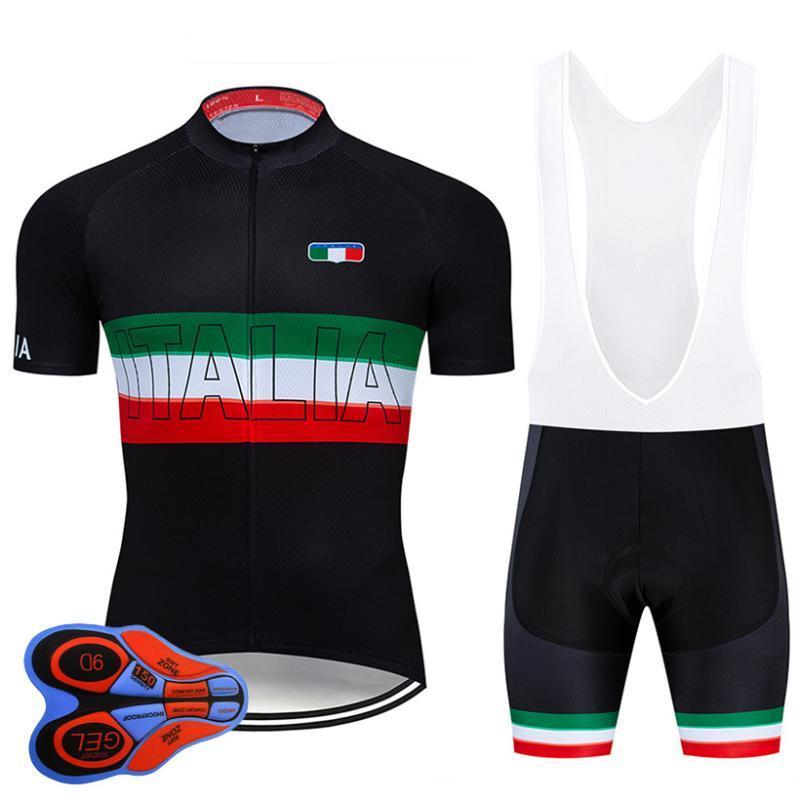 2020 Pro Team Italia ropa de ciclo 9D Conjunto MTB Uniforme Ropa verano de la bicicleta de la bici rápida en seco Jersey para hombre corto Maillot Culote