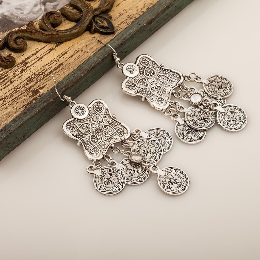 Oyma Çiçek Para Bildirimi Dangle Antik Antik Gümüş Etnik Bohem Çingene Hindistan Stil Takı