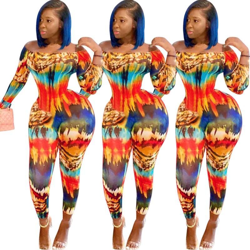 Paisley Kravat Boya Baskı Kapalı Omuz Bodycon Tulum Bayan Tulum Fitness Aktif Giymek Seksi Kulübü Gece Parti Tulumları