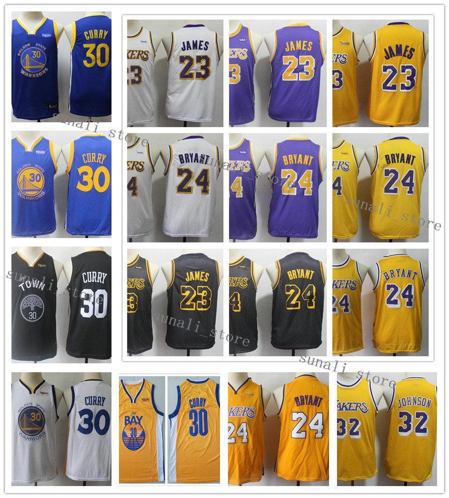 Stephen surpiqués jeunes enfants hommes de basket-ball LeBron James Curry 30 23 32 Johnson Maillots Bryant pas cher meilleure qualité garçons Enfant Petites filles