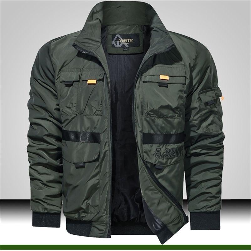 Мужская ветровка стенд воротник военный легкий куртка мужчины много кармана открытый пиджак мода зеленый тактический бомбардировщик куртка 201118