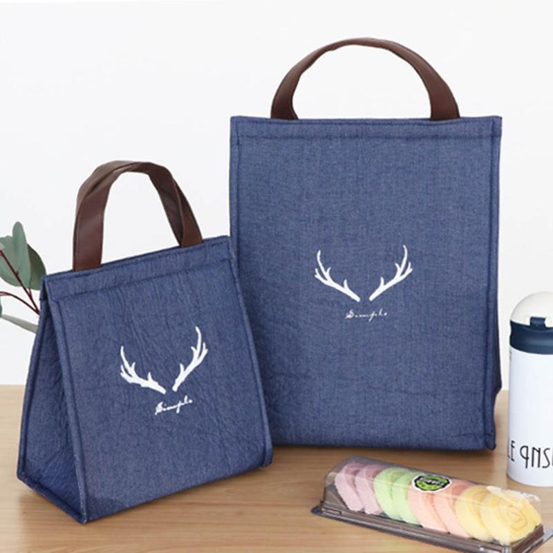 Nuovo Lunch Box Bag Denim ispessite alluminio Conservazione termica di raffreddamento Box Bag tenuto in mano impermeabile pranzo Pouch-30