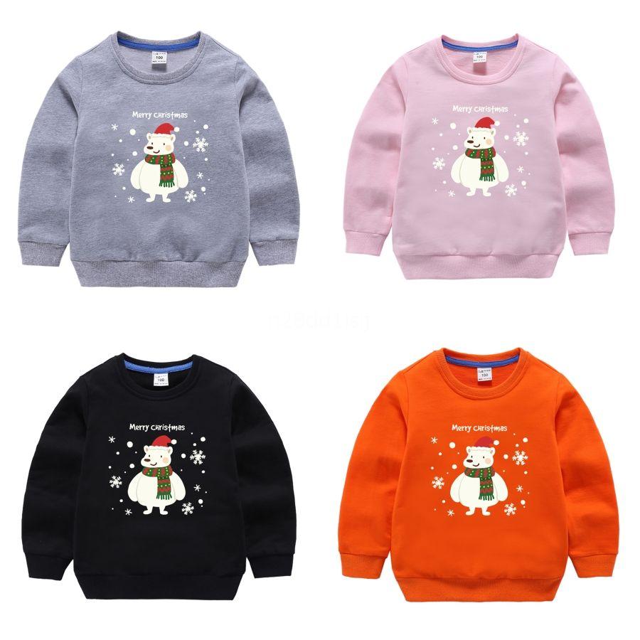 2020 Pull enfant manches longues Mode confortable et printemps Autumnnavy bleu rouge de Noël Chapeau de broderie Pull Jumper Enfant Swe # 587